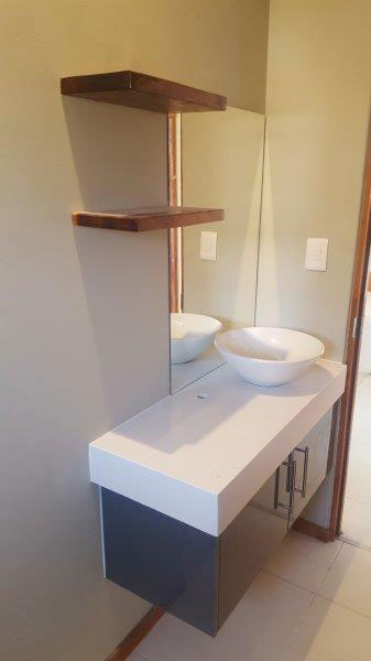 Bathroom cabinet, shelves and basin